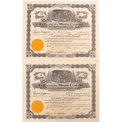 Two La Florecita Mining Company Stock Certificates