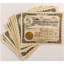26 Arlington Mining Corporation Stock Certificates