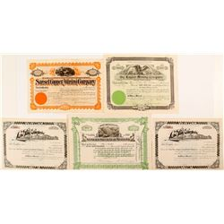 5 Assorted Mining Certificates