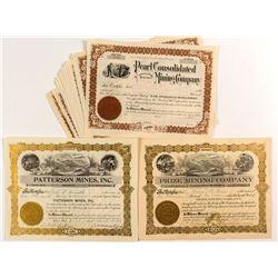 19 Washington Mining Stock Certificates