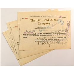 Trio of Old Gold Mines Company Stock Certificates
