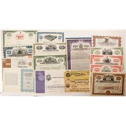 19 Assorted Stock Certificates