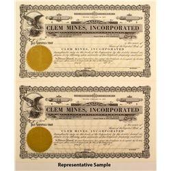 Clem Mines Inc. Stock Certificates (30)