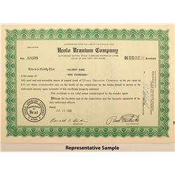 Ucuol Uranium Company Stock Certificates
