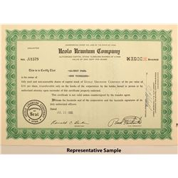 Ucuol Uranium Company Stock Certificates