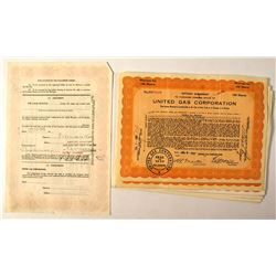 United Gas Corporation Stock Certificate Collection