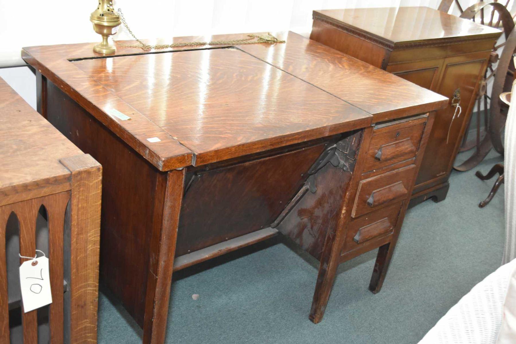 Antique Mission Style Single Drawer Quarter Cut Oak Desk With Book Storage On Each End