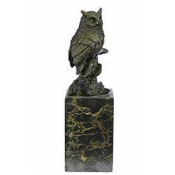 Bird Owl Bronze Sculpture on Marble Base Statue