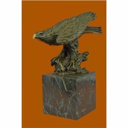 Falcon American Eagle Bronze Sculpture on Marble Base Statue