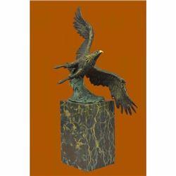 Multi Color Patina American Bald Eagle Bronze Statue on Marble Base Sculpture