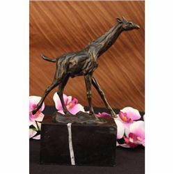 Tall Giraffe Animal Bronze Sculpture on Mrbale Base Figurine