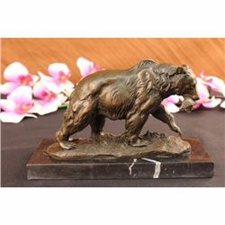 Grizzly Bear Hunting Fish River Bronze Sculpture