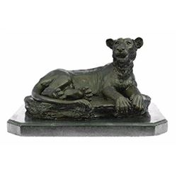 Female African Wildlife Lion Bronze Sculpture on Marble Base Statue