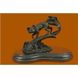 Fox Wild Animal Bronze Statue on Marble Base Sculpture
