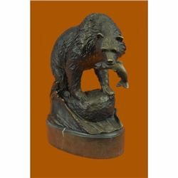 Young Bear With Catch of The Day Bronze Sculpture on Marble Base Statue