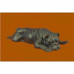 Adorable Sweet Little Bulldog Bronze Sculpture