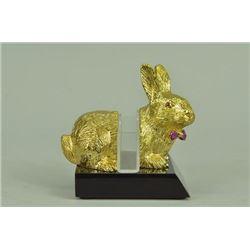 24K Gold Plated Easter Bunny Card Holder Sculpture