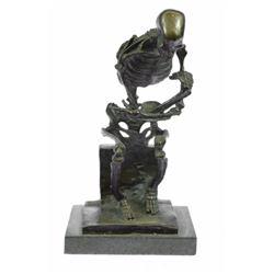 Skull Skeleton thinker Bronze Sculpture