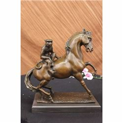 """15"""" French Bronze Eximous Monkey Sit Horse Statue"""