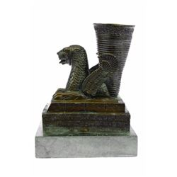 Persian Sasanian Dynasty Dragon Peacock Bronze Sculpture on Marble Base