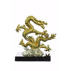 24K Gold Silver Plated Chinese Dragon Sculpture