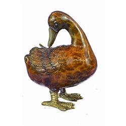 Brass Standing Duck Cold Painted Bird Bronze Sculpture