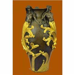 Elegant Vase Planter Bronze Statue