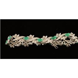 Ladies Emerald & Diamond Botanical Bracelet