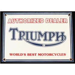 Vintage Triumph Motorcycles Porcelain Sign