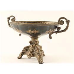 Ornate Footed Metal Bowl