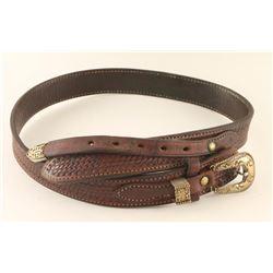 Mens Vintage Belt with Sterling Silver Buckle