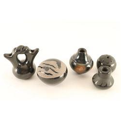 Lot of 5 Miniature Blackware Pots