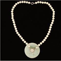 Pearl Necklace with Jade Pendant