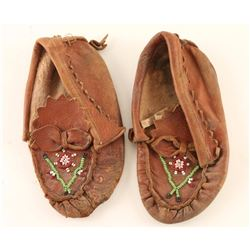 Pair of Childs Beaded Leather Moccasins