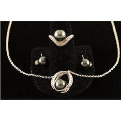 Black Pearl Pendant, Ring & Earrings Set