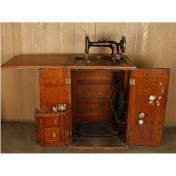 Antique Oak Sewing Machine & Cabinet