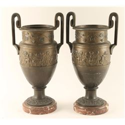 Lot of 2 Brass Urns