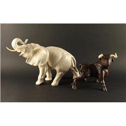 Porcelain Elephant & Bull