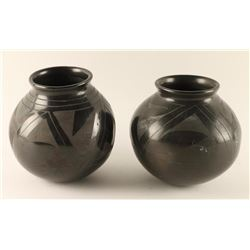 Lot of 2 Blackware Mata Ortiz Pots