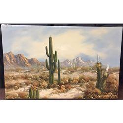 Original Oil Painting of a Desert Scene