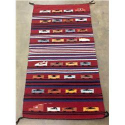 Railroad Scene Pictorial Navajo Textile