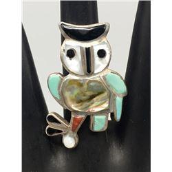 Zuni Inlay Owl Ring