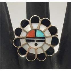 Zuni Inlay Sun Face Ring
