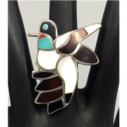 Zuni Inlay Hummingbird Ring