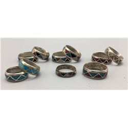 Group Of 10 Inlaid Silver Rings
