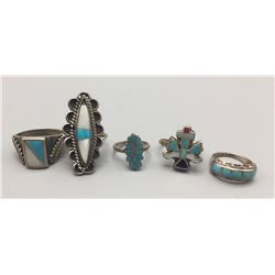 Group Of 5 Inlaid Silver Rings