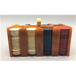 Vintage Bakelite Poker Chip Caddy and Chips