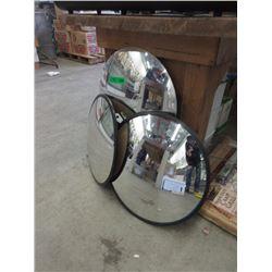 3 Convex Glass Round Mirrors