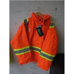 2XL Waterproof Hooded Orange Safety Jacket