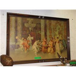 """Antique Framed Print """"Tea Time Serenading"""""""